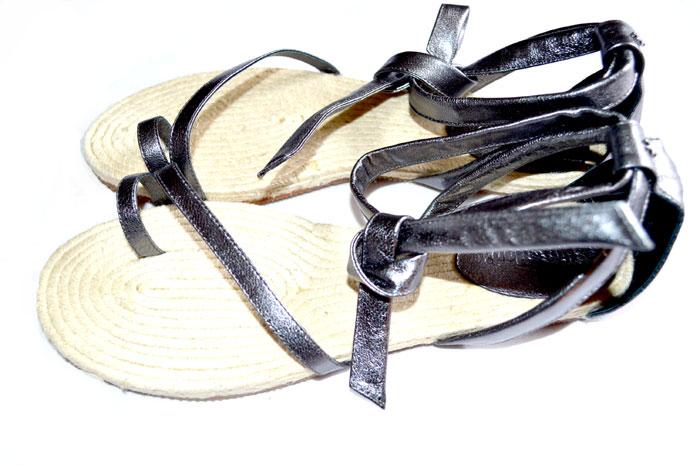 flip flop toe show three metallic sandalen espandrilles gr. Black Bedroom Furniture Sets. Home Design Ideas